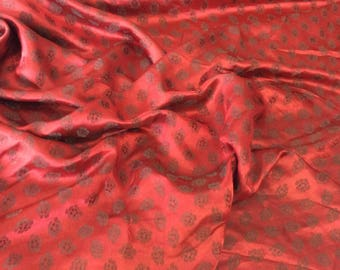 silk sateen fabric, brocade woven print
