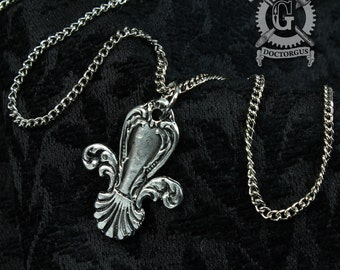 Fleur de Lis Necklace - Inspired by Antique Victorian Silverware - Doctorgus Handmade Jewelry Creations - Steampunk Boho Style Fleur Pendant