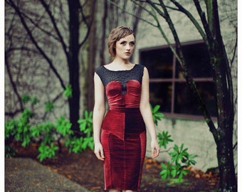 Wine red velvet and lace fitted dress with satin piping