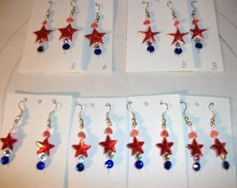 July 4th Red White n Blue Celebrate Holiday  Earrings  Keep