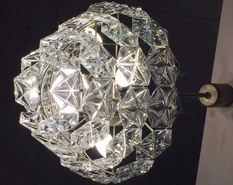Vintage crystal and brass chandelier 1960s midcentury