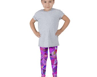 Kid's leggings bright geometric triangles