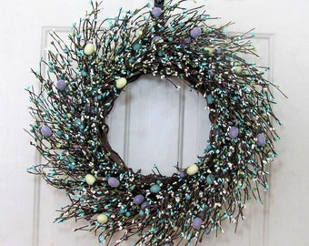 FREE SHIPPING - Spring Wreaths - Teal Blue Pip Berry Wreath - Beach Theme - Easter Egg Wreath - Primitive Wreath - Spring Front Door Wreath