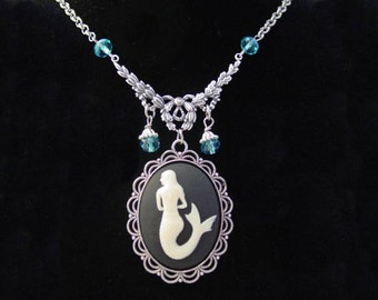 Siren of the Sea Cameo Mermaid Necklace Oxidized Finish Aqua Drop Beads