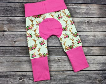 Grow With Me Pants,Miniloones,Cloth Diaper Pants,Baby Girl Maxaloones,Floral Maxaloons,Maxaloones Pants,Baby Joggers