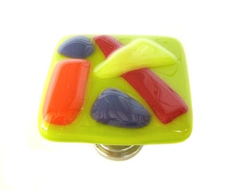 Lime Green Fun and Funky Fused Glass Cabinet Knob Hardware
