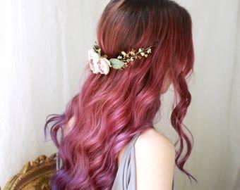 Dusky pink flower headpiece, golden hair vine, delicate bridal head piece, romantic flower crown, woodland wedding hair piece, fern crown