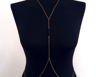 Black Beaded Gold Body Chain