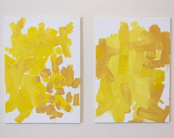 Yellow series: small abstract, oil painting
