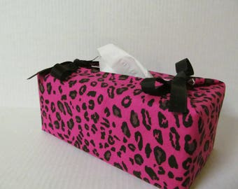 Tissue Box Cover/Pink Leopard