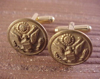 Vintage Military Uniform Button Cuff Links