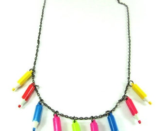 SALE Vintage Handmade Necklace with fashion color pencils 80's style