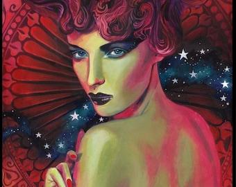 Mania Roman Goddess Original Acrylic Painting Pagan Mythology Psychedelic Goddess Art