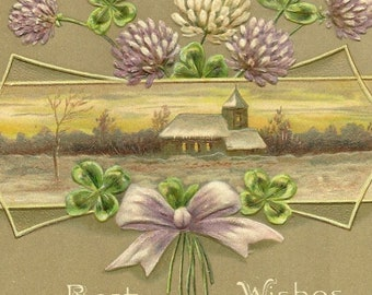 Antique EAS Postcard Purple Clover and Shamrock with Stately Home Best Wishes E A Schwerdtfeger