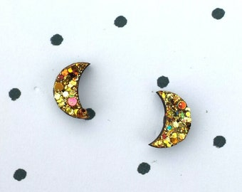 Tiny gold crescent moons stud earrings sparkling shiny glitter accessories