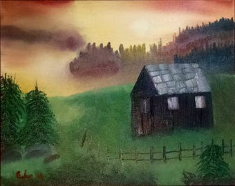 Cabin in the Mist - Signed Original Oil on Canvas