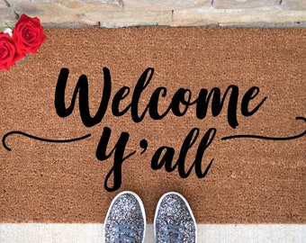 Welcome Yu0027all Doormat   Hello Doormat   Welcome Mat   Cute Door Mat    Custom Doormat   Unique Doormat   Hello Mat   Welcome Doormat   Rug
