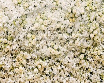 5ft x 7ft Vinyl Photography Backdrop / White Cream Floral Wall