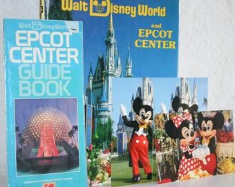 1985 Walt Disney World Epcot Center Book Brochure and Postcards