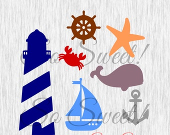 Nautical SVG / DXF Cut File for Silhouette Crab Starfish Lighthouse Star Fish Light House Sea Boat Anchor Sailboat Crab Whale svg dxf cut