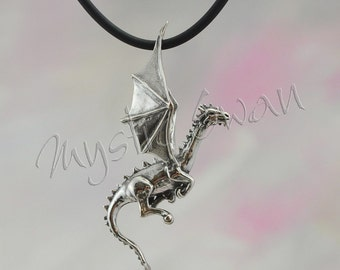 Sterling Silver Dragon Pendant, Flying Dragon Fantasy Jewelry