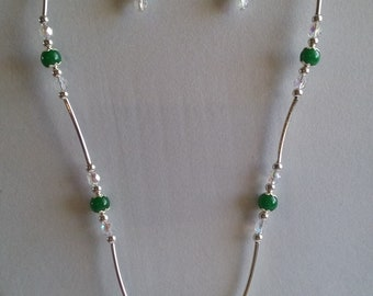 Butterfly Necklace, Earrings, Malaysia Jade, Swarovski, Curved Tube beads, Under 25.00