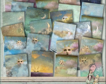Celestial Backgrounds  - 3 x Digital Collage Sheet ATC .png - itKuPiLLi _Printable, Instant Download