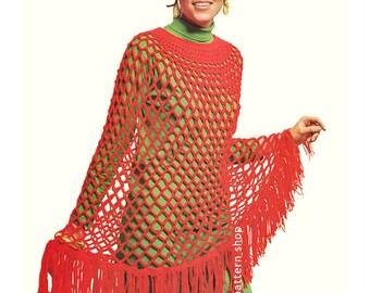 Womens Crochet Poncho Pattern 1960s Vintage Mesh Poncho Crochet Pattern Cape DIY Instant Download PDF C69