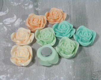 Beautiful Rose Magnets for Your Fridge, Filing Cabinet, or White Board. Set Of 5 or 10, For School, Office, or Home. Strong Lucite Flowers
