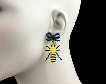READY MADE SALE - The Bee's Knees - Bee Earrings with Bow Posts - Laser Cut Earrings (C.A.B. Fayre Original Design)