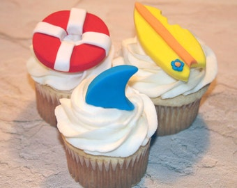 Fondant cupcake toppers Shark fin , Beach Pool Party, Surfboard