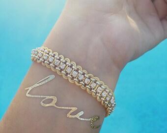 Gold & Silver Swarovski Crystal Two-Tone Bracelet