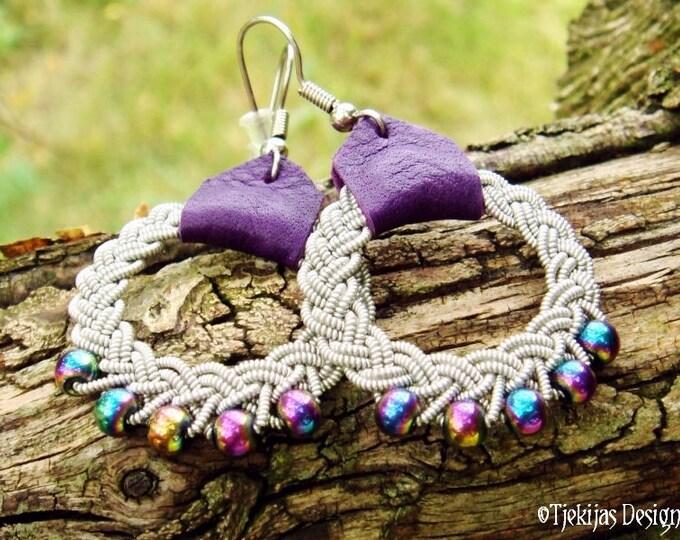 Sami Earrings RIMFAXE Viking Dangle Hoop Earrings with Pewter Braid, Rainbow Hematite Beads and Purple Leather