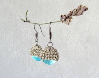 Earrings HalfGlobe, beige turquoise Dangle Earrings, unique Style Knit Jewelry, silver steel ear hooks, knit coin, accessory one of a kind