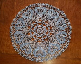 Handmade lace doily crochet, 48 cm, blue