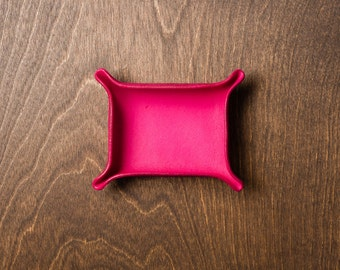 Leather Catchall Small - Fuchsia / personalized catchall, valet tray, office organizer, house organizer, ring dish, mothers day