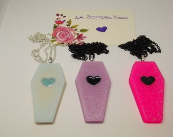 Creating resin-Gothic necklace coffin heart-Hearts coffin Box necklace Gotich Lolita-Available different colors on request