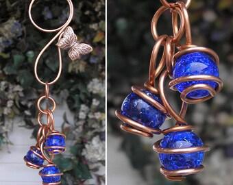 Butterfly Dragonfly Glass & Copper Garden Art Suncatcher Yard/Lawn/Outdoor Decor