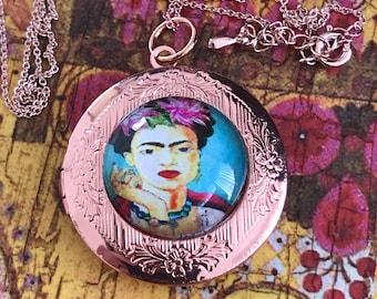 Frida Locket, Frida Kahlo, Frida, Kahlo, Locket, Brass, Locket Necklace, Art, Painting, Self Portrait, Cabochon Necklace, Mexican, Pendant