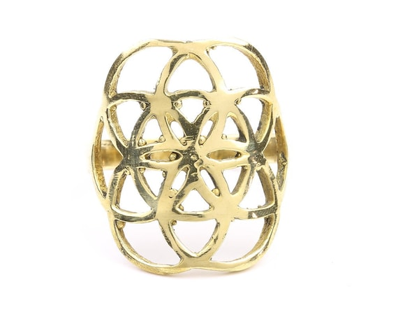 Brass Seed of Life Ring, Sacred Geometry, Meditation, Yoga Jewelry, Tribal, Ethnic Ring, Gypsy, Hippie Jewelry, Festival Jewelry, Boho