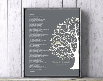 Custom Wedding Lyrics 1st Anniversary Personalized Gift Art Print First Dance Song Custom Gift  Spouse Gift Wedding Song Canvas or Print
