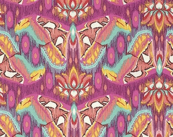Tula Pink, Eden, Atlas, Tourmaline, moths, butterflies, pink, orange, see coordinates, Free Spirit