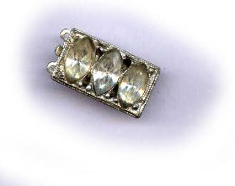 vintage rhinestone clasp art deco TWO strand rhinestone clasp diamond design pristine condition