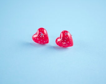 Red Glitter Speckled Heart Stud Post Earrings*