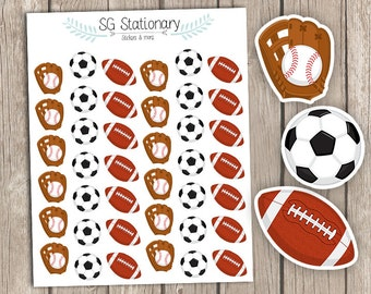 Sports Planner Stickers, Planner Stickers, for use  with Erin Condren Planner, Functional Stickers, Filofax, balls, sport balls, baseball