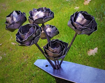 Half Dozen (6) Raw Steel Hand Forged Forever Roses