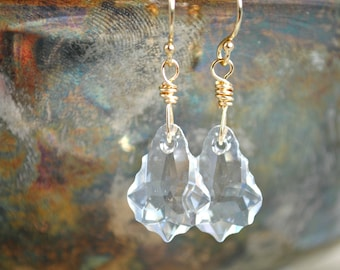 Crystal Earrings, Dangle Earrings, Swarovski Baroque Earrings, Gold Earrings, Crystal Jewelry, Gold Jewelry, Long Earrings,