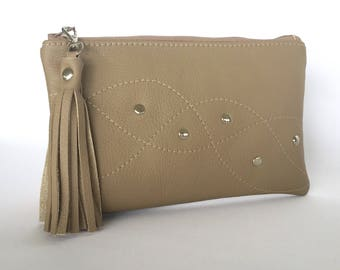 Monroe Leather Pouch:  Mushroom Brown