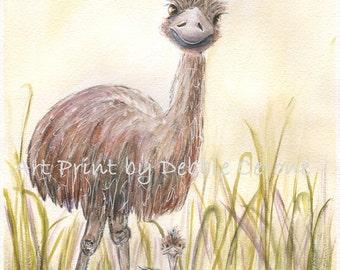 Nursery Wall Art, Baby Animal Prints, Austrailian Baby Animals, Emu Mom And Baby, Kids Art, Aussie Baby Nursery Art, Childrens Prints