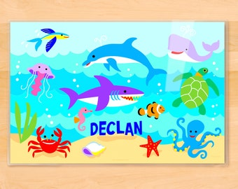 Personalized Ocean Placemat, Laminated Placemat, Shark Placemat, Dolphin Placemat, Kids Personalized Placemat, Fish Placemat, Under the Sea